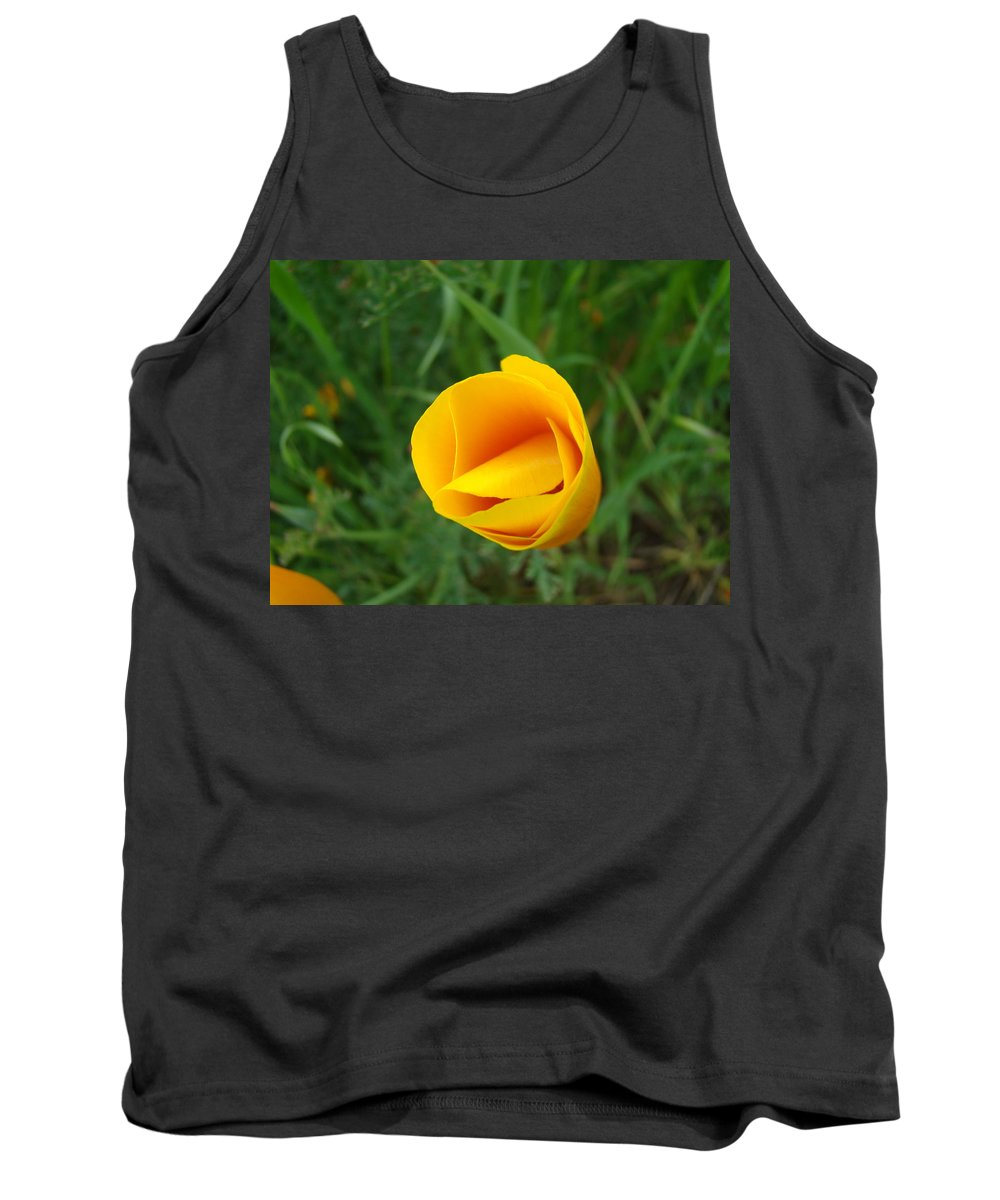 �poppies Artwork� Tank Top featuring the photograph Poppy Flower Bud 9 Orange Poppies Green Meadow Art Prints Baslee Troutman by Baslee Troutman
