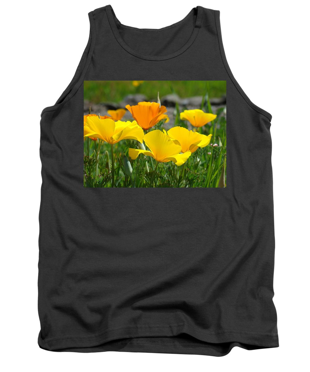 �poppies Artwork� Tank Top featuring the photograph Poppy Flower Meadow 14 Poppies Orange Flowers Giclee Art Prints Baslee Troutman by Baslee Troutman