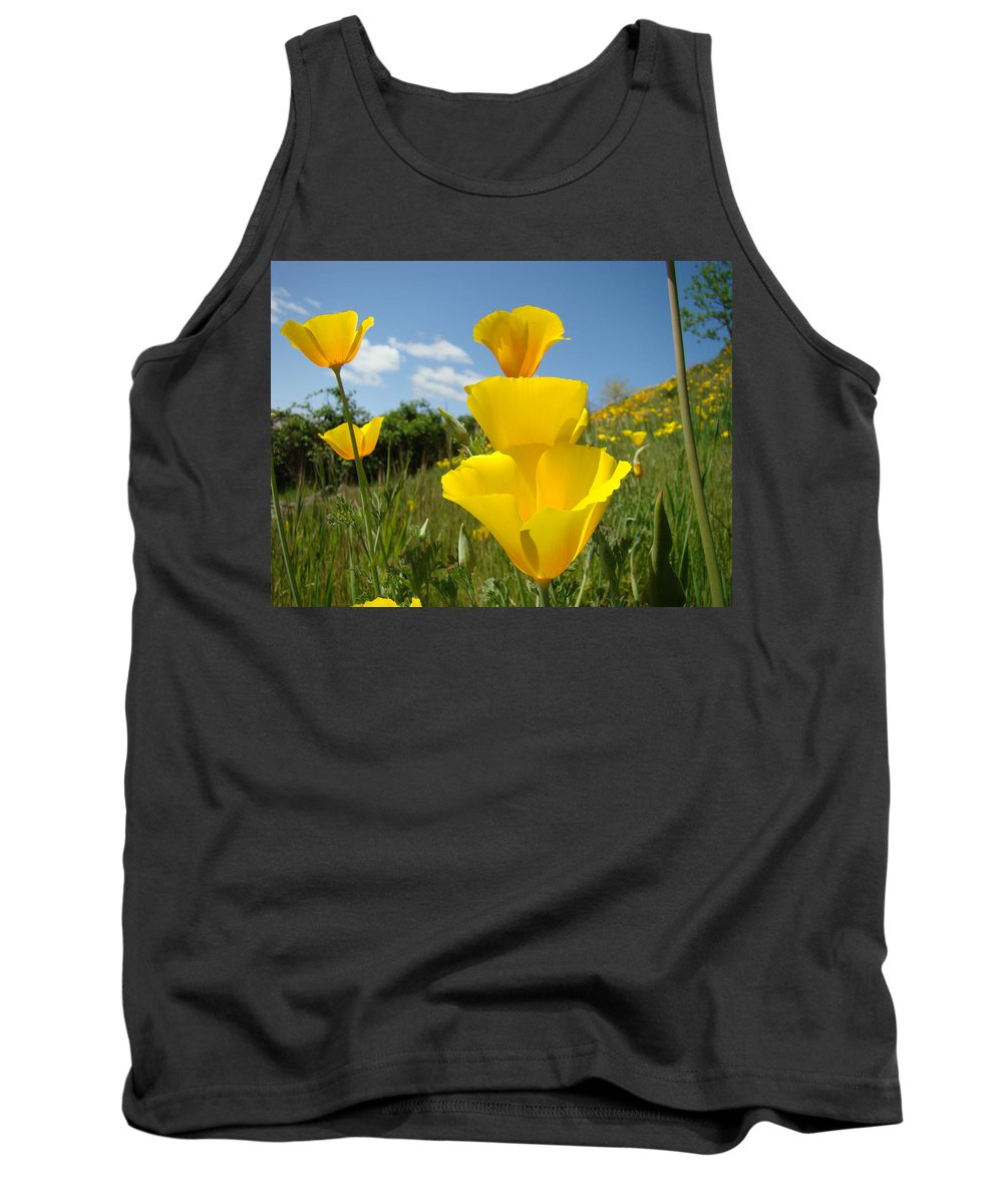 �poppies Artwork� Tank Top featuring the photograph Poppy Flower Meadow 7 Poppies Blue Sky Artwork Baslee Troutman by Baslee Troutman