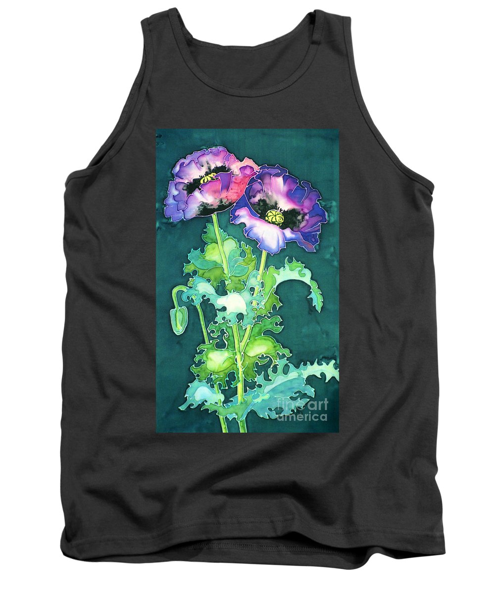 Papaver Somniferum Tank Top featuring the painting Poppy Flowers by Paula Chapman