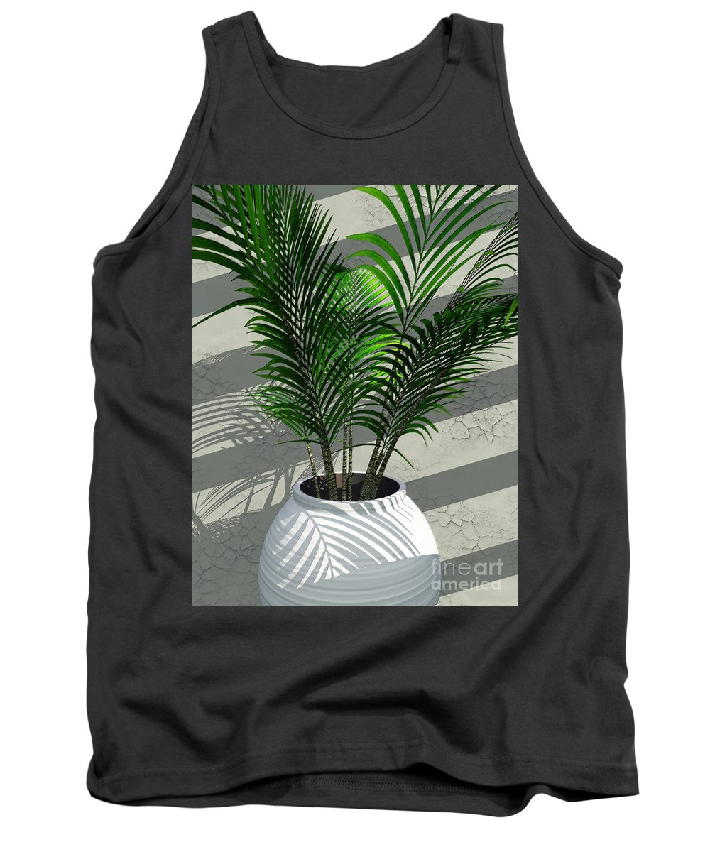 Palms Tank Top featuring the digital art Porch Plant by Richard Rizzo