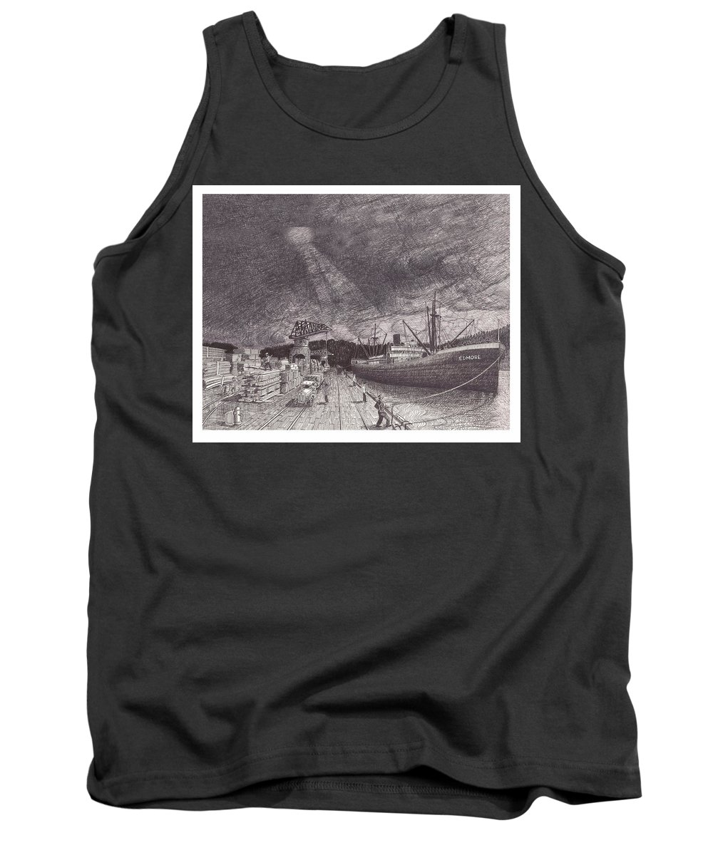 Port Of Tacoma Tank Top featuring the drawing Port Of Tacoma Wa Waterfront by Jack Pumphrey