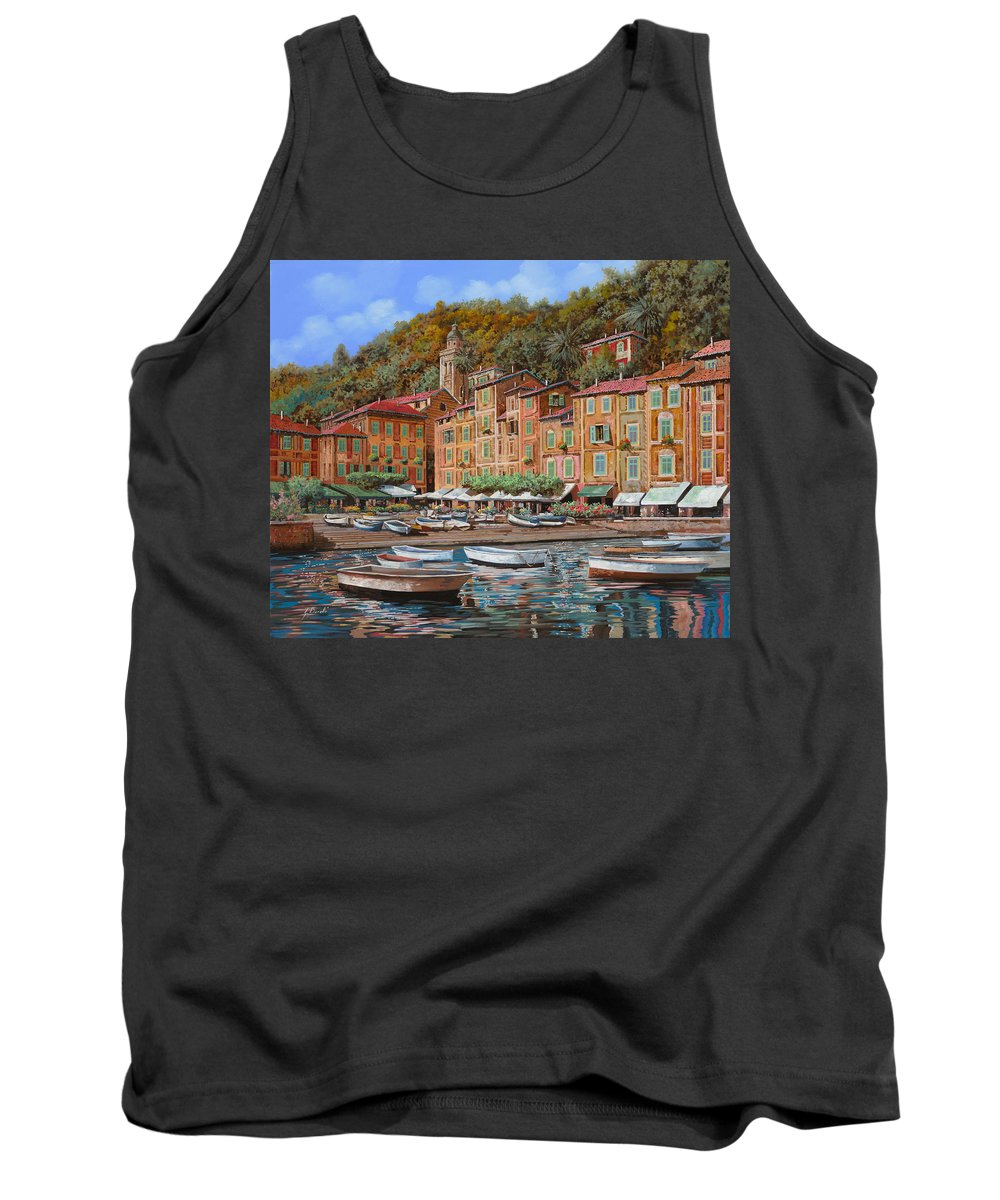 Portofino Tank Top featuring the painting Portofino-la Piazzetta E Le Barche by Guido Borelli
