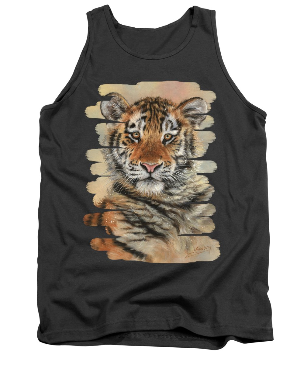 Tiger Tank Top featuring the painting Portrait Of A Tiger Cub by David Stribbling