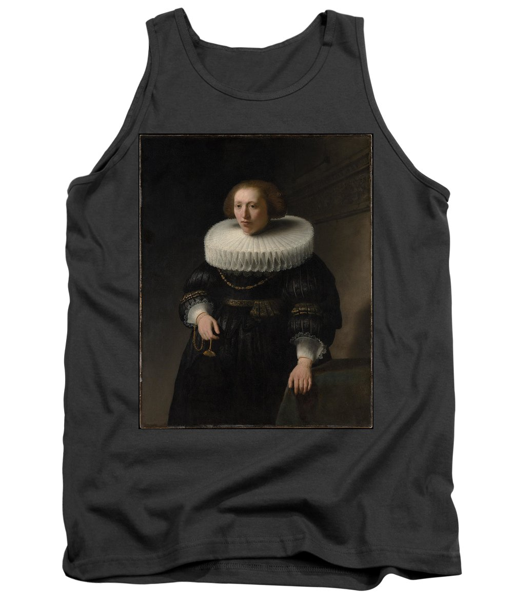 Rembrandt Portrait Of A Woman Probably A Member Of The Van Beresteyn Family Tank Top featuring the painting Portrait Of A Woman Probably A Member Of The Van Beresteyn Family by Rembrandt