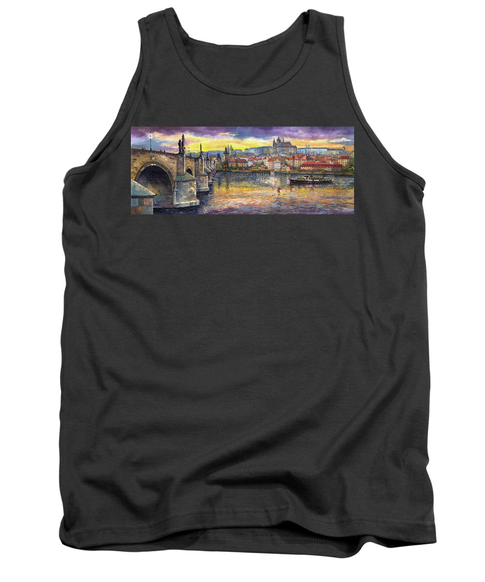 Oil On Canvas Tank Top featuring the painting Prague Charles Bridge And Prague Castle With The Vltava River 1 by Yuriy Shevchuk