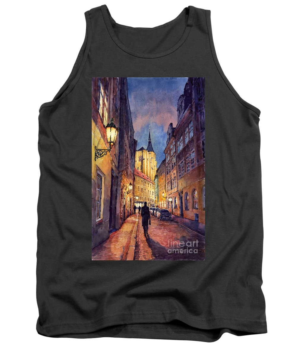 Architecture Tank Top featuring the painting Prague Husova Street by Yuriy Shevchuk