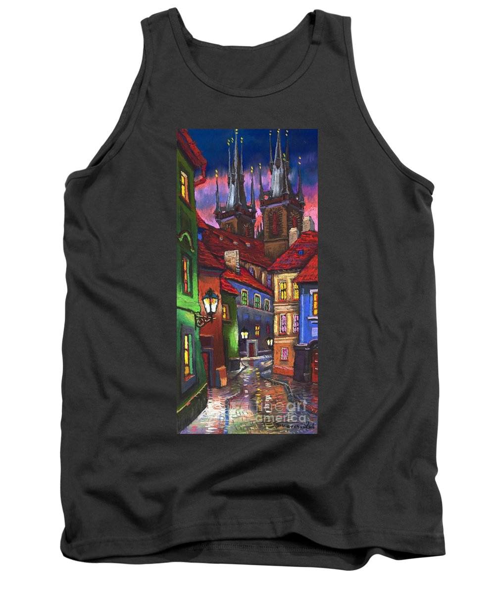 Pastel Tank Top featuring the painting Prague Old Street 01 by Yuriy Shevchuk