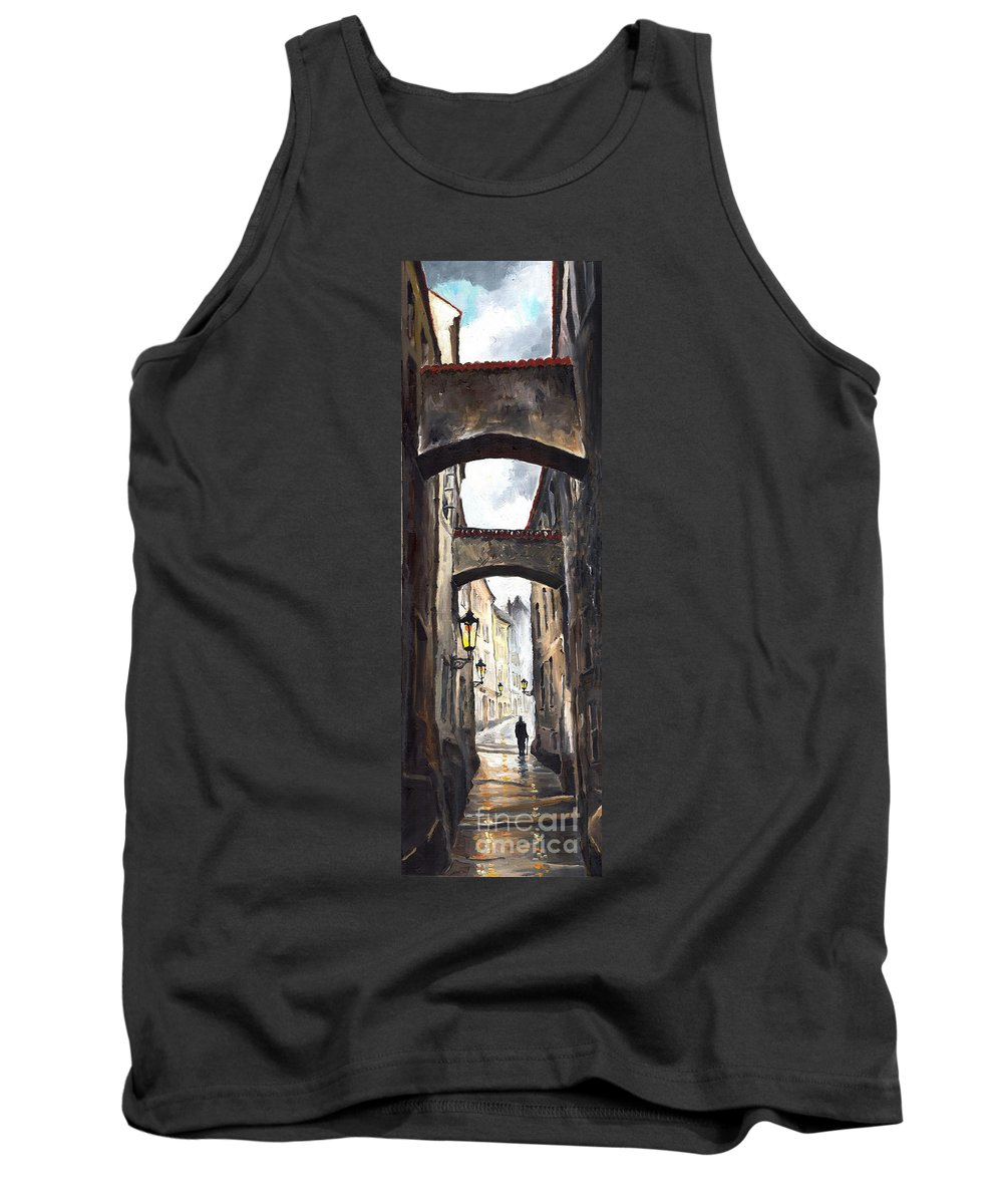 Oil On Canvas Paintings Tank Top featuring the painting Prague Old Street 02 by Yuriy Shevchuk