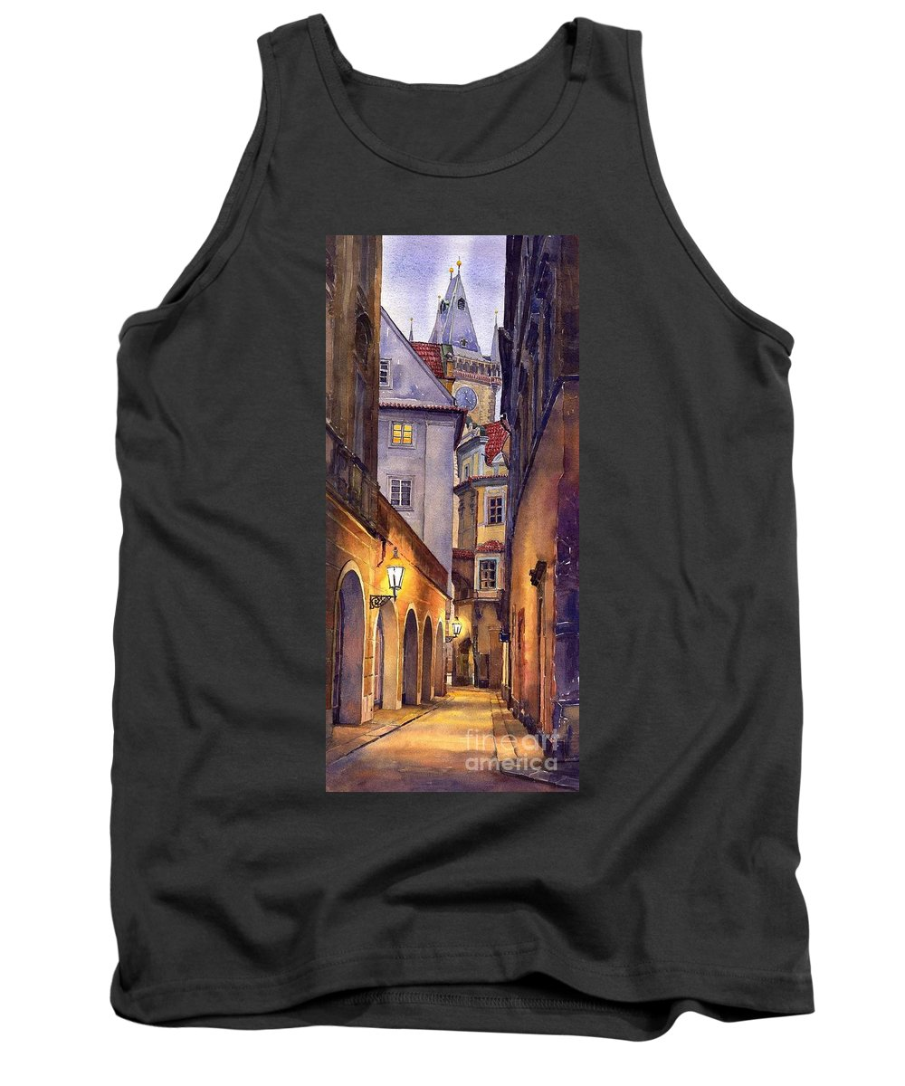Cityscape Tank Top featuring the painting Prague Old Street by Yuriy Shevchuk