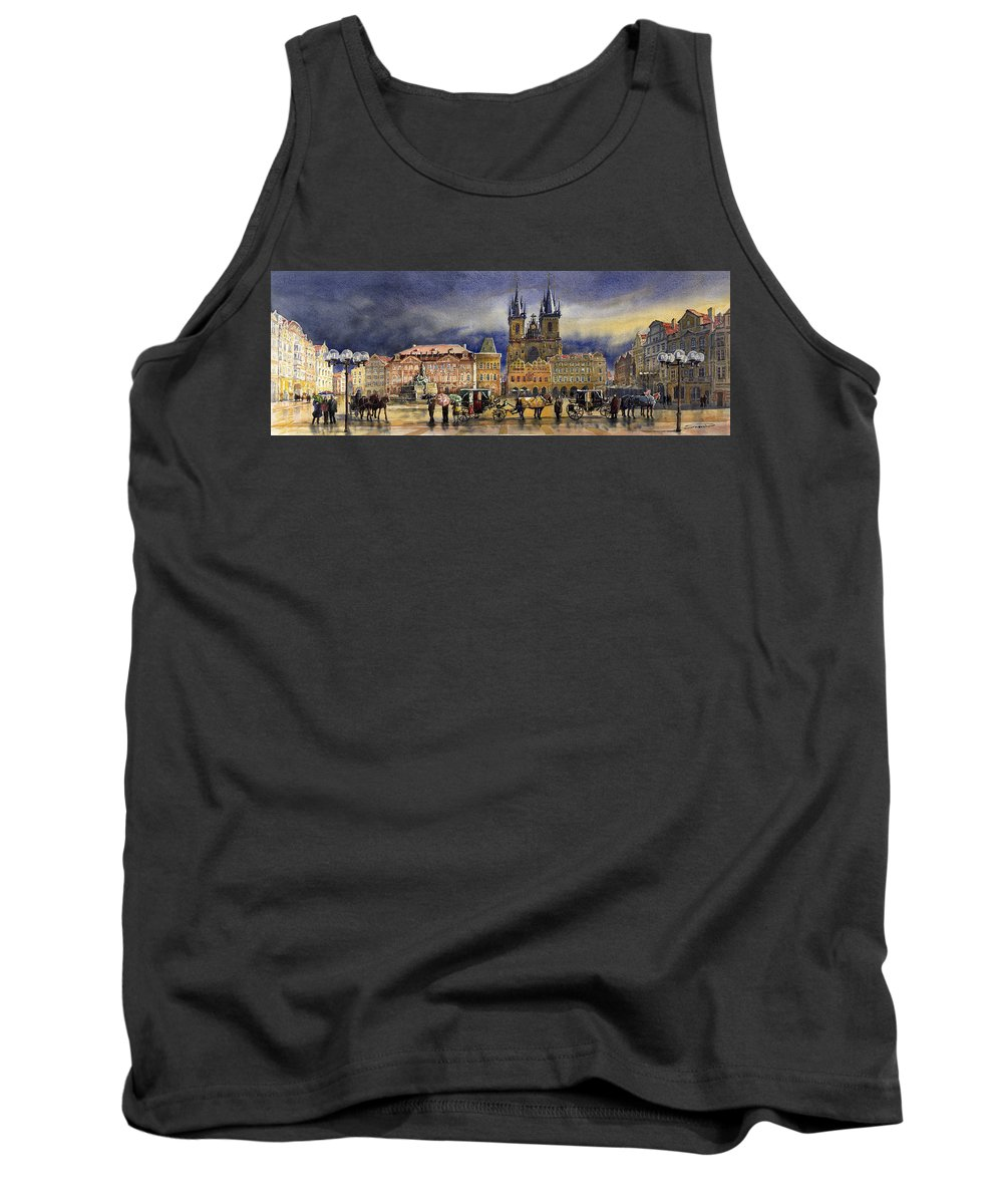Watercolor Tank Top featuring the painting Prague Old Town Squere After rain by Yuriy Shevchuk