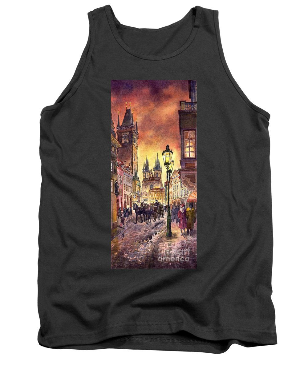 Cityscape Tank Top featuring the painting Prague Old Town Squere by Yuriy Shevchuk