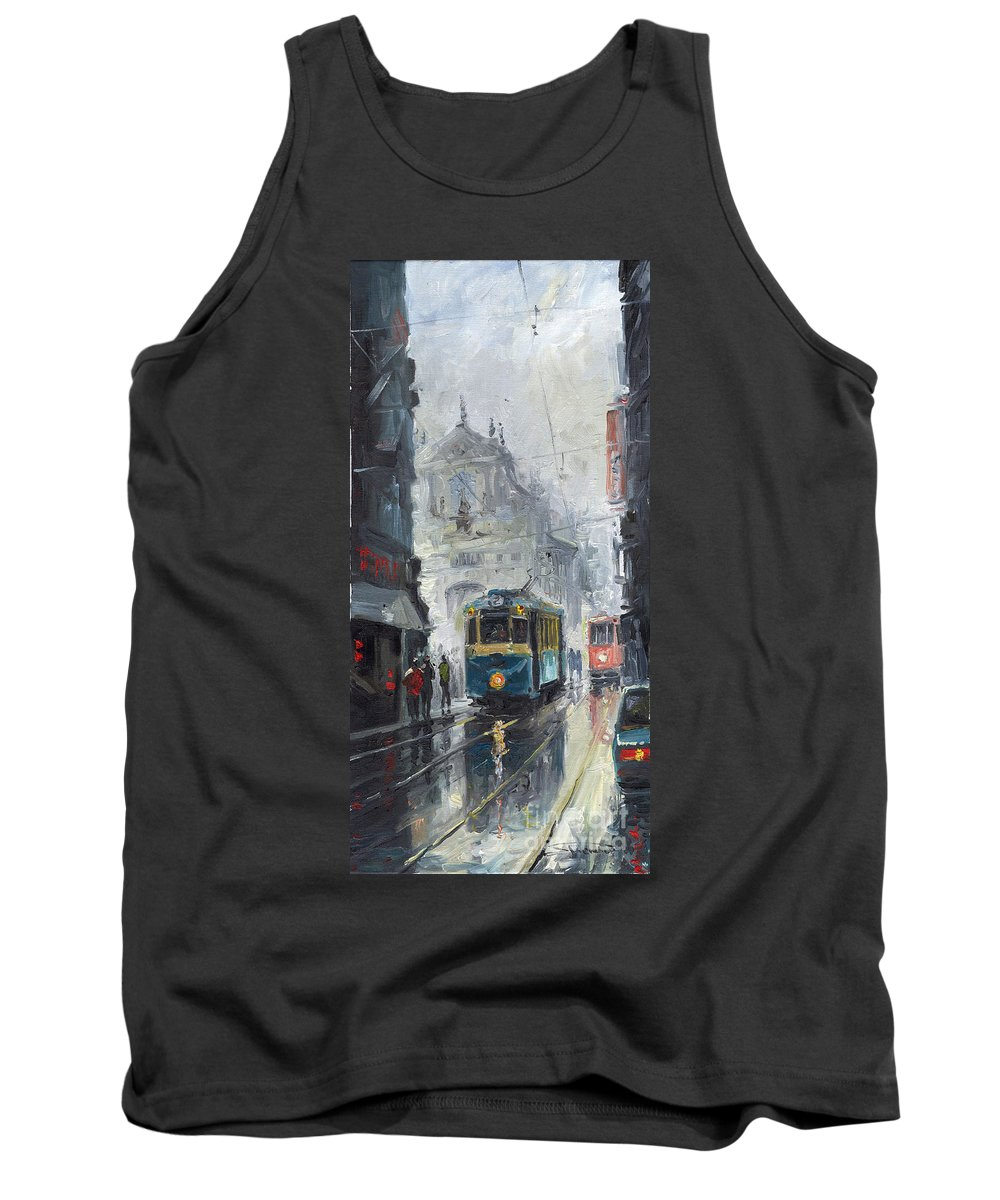 Oil On Canvas Tank Top featuring the painting Prague Old Tram 04 by Yuriy Shevchuk