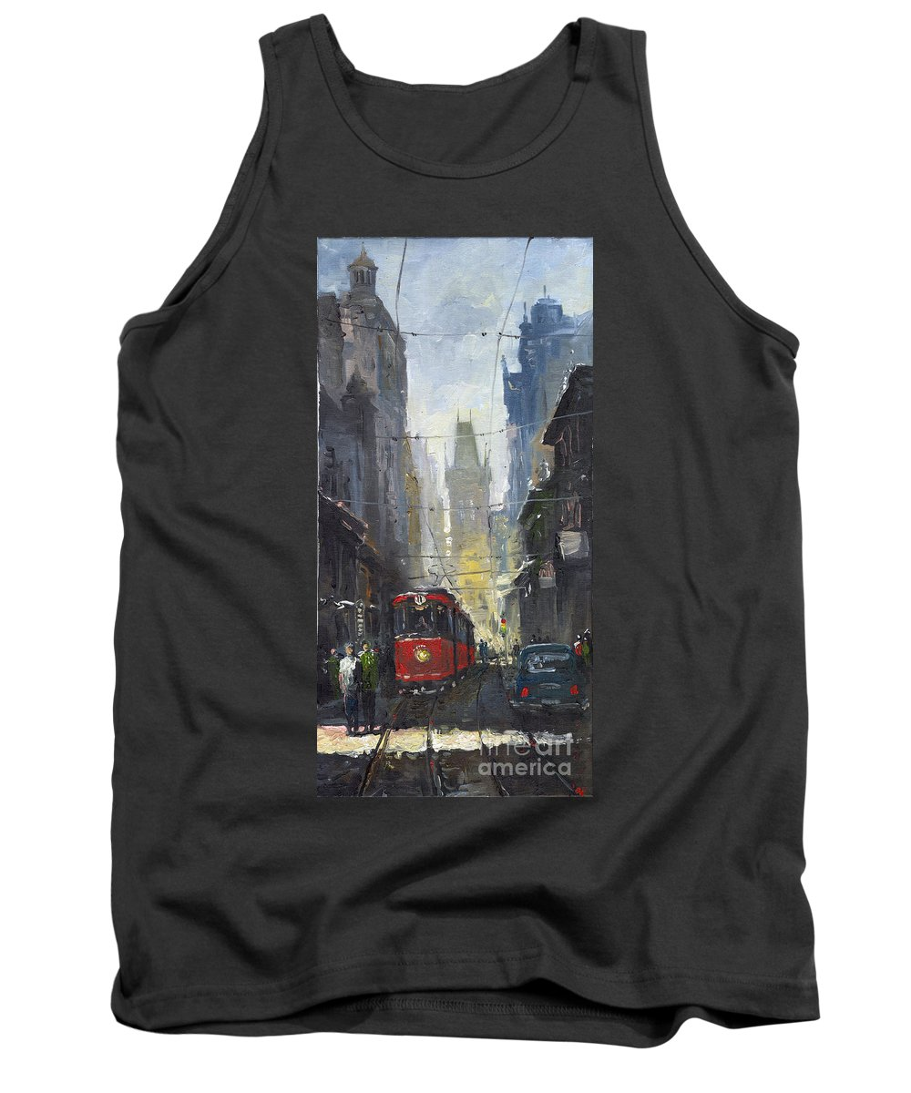 Oil On Canvas Paintings Tank Top featuring the painting Prague Old Tram 05 by Yuriy Shevchuk