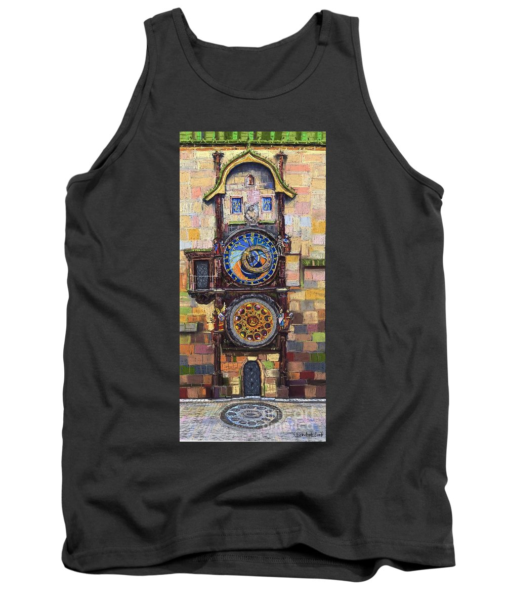 Cityscape Tank Top featuring the painting Prague The Horologue At Oldtownhall by Yuriy Shevchuk
