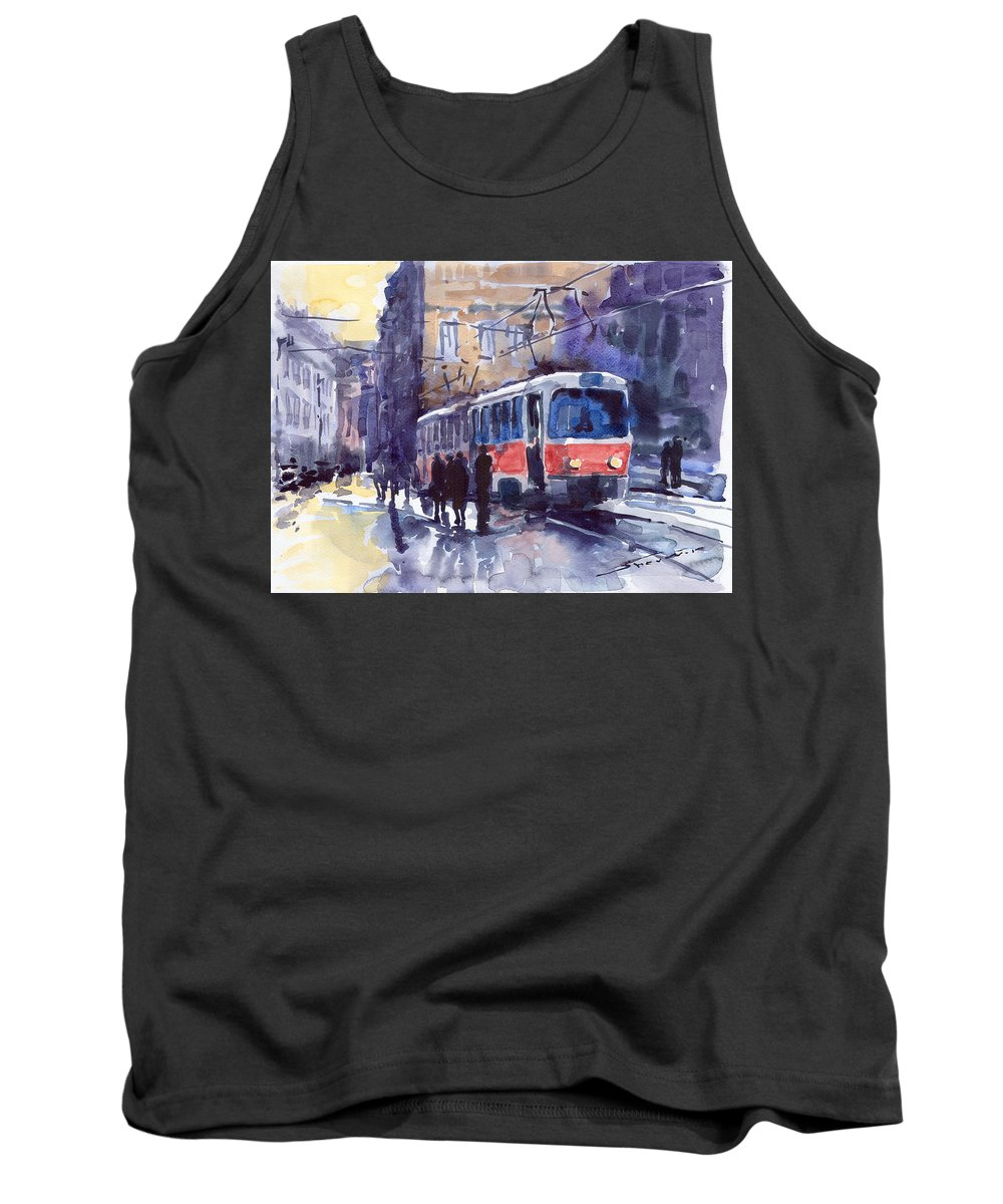 Cityscape Tank Top featuring the painting Prague Tram 02 by Yuriy Shevchuk
