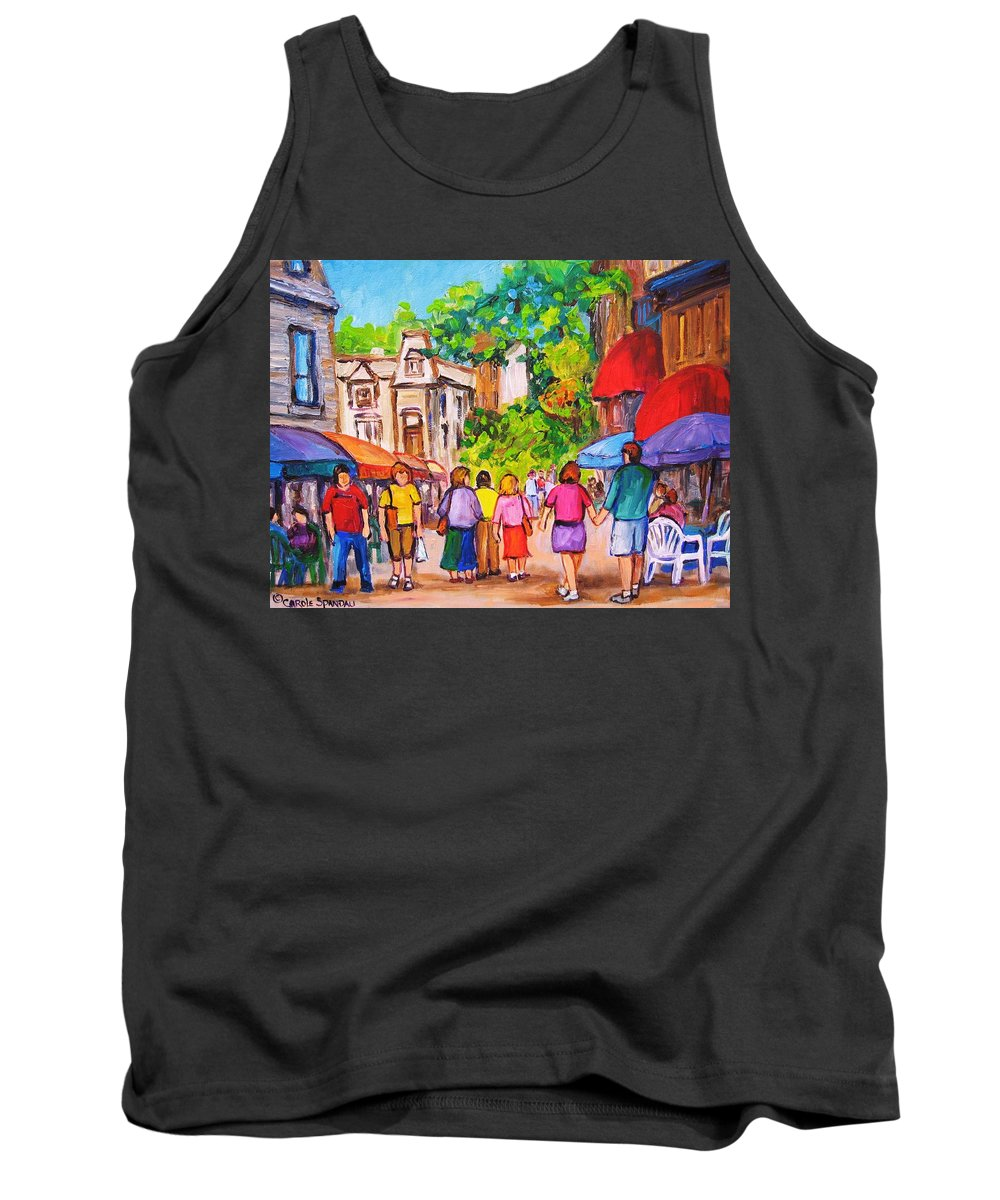 Rue Prince Arthur Montreal Street Scenes Tank Top featuring the painting Prince Arthur Street Montreal by Carole Spandau