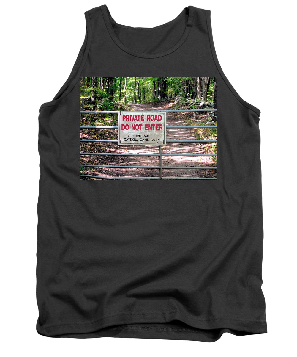 Private Road Do Not Enter Tank Top featuring the painting Private Road Do Not Enter by Jeelan Clark