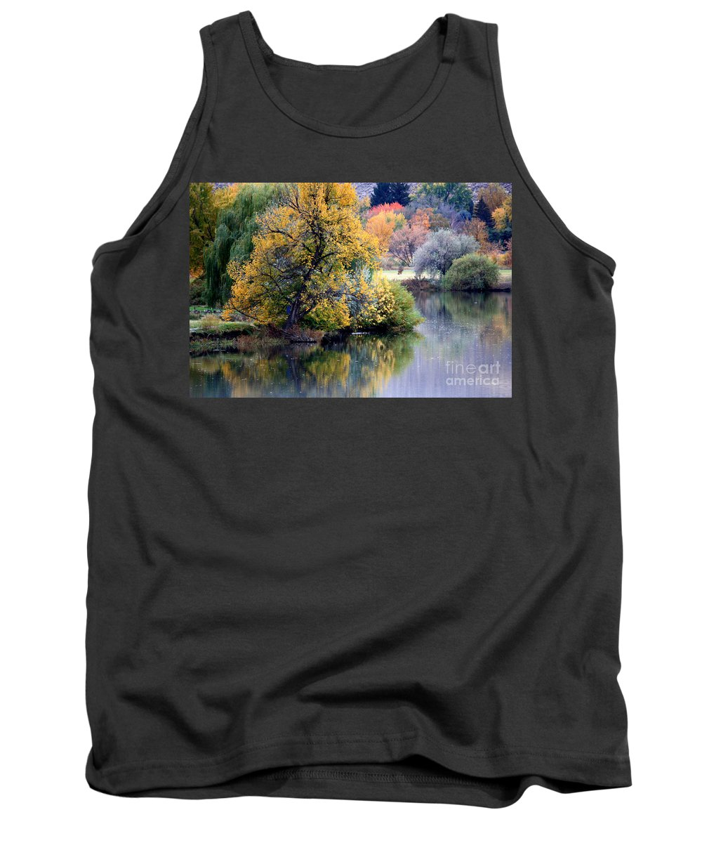 Prosser Tank Top featuring the photograph Prosser Autumn River Reflection by Carol Groenen