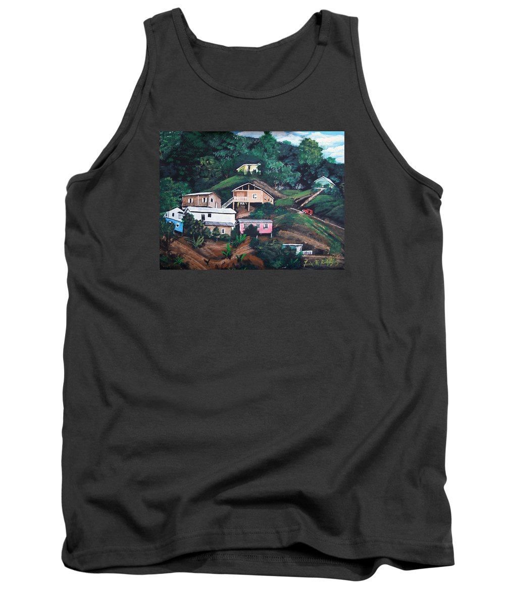 Puerto Rico Tank Top featuring the painting Puerto Rico Mountain View by Luis F Rodriguez