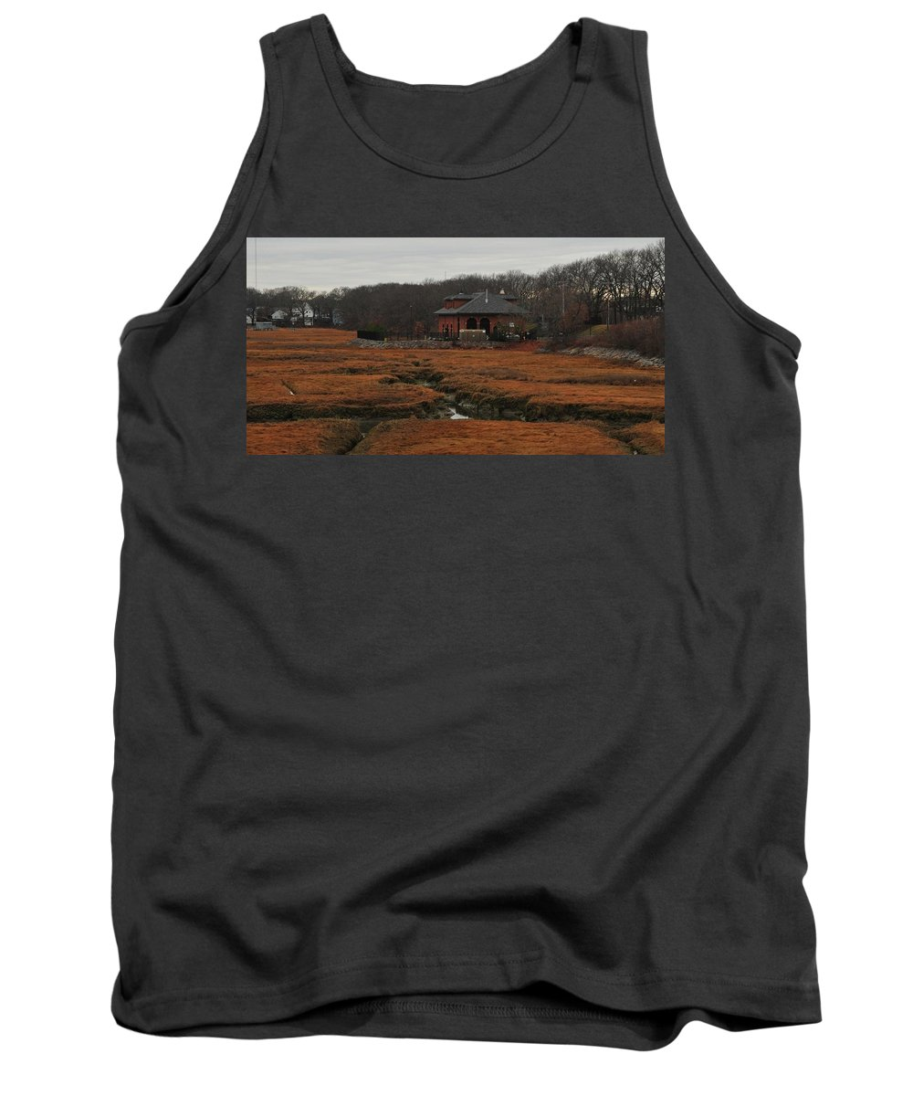 Pumping Station On The Salt Marsh Rock Island Houghs Neck Quincy Ma Tank Top featuring the photograph Pumping Station On The Marsh by Bill Driscoll