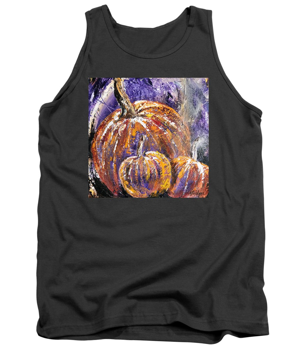 Pumpkins Tank Top featuring the painting Pumpkin Hallow by Mary Bridges