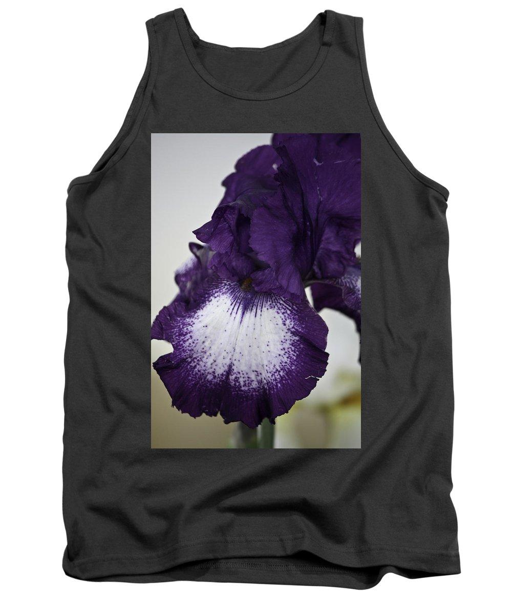 Iris Tank Top featuring the photograph Purple And White Iris Bloom by Teresa Mucha