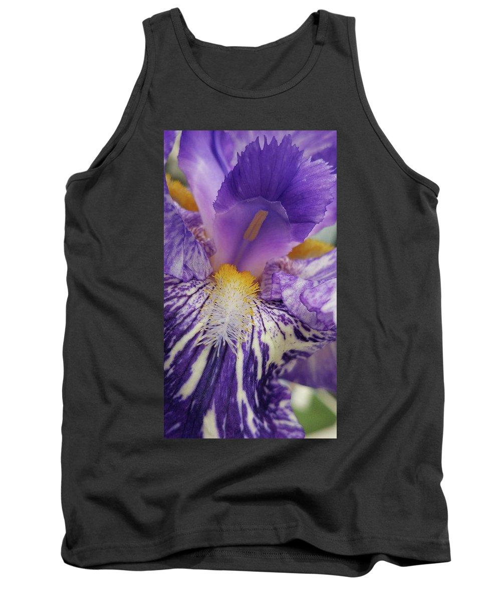 Iris Tank Top featuring the photograph Purple Iris by Caryl J Bohn