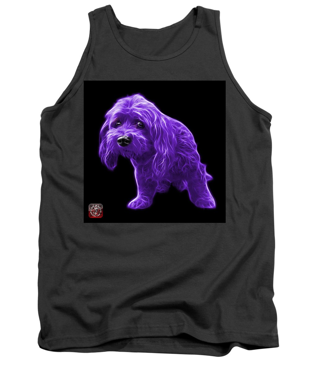 Lhasa Apso Tank Top featuring the painting Purple Lhasa Apso Pop Art - 5331 - Bb by James Ahn