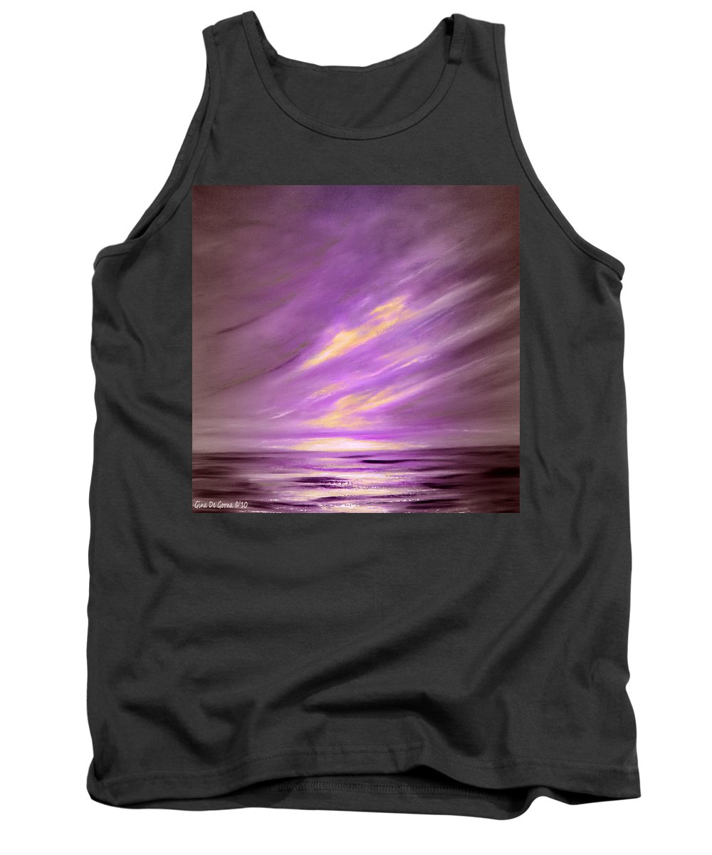 Sunset Tank Top featuring the painting Purple Sunset by Gina De Gorna