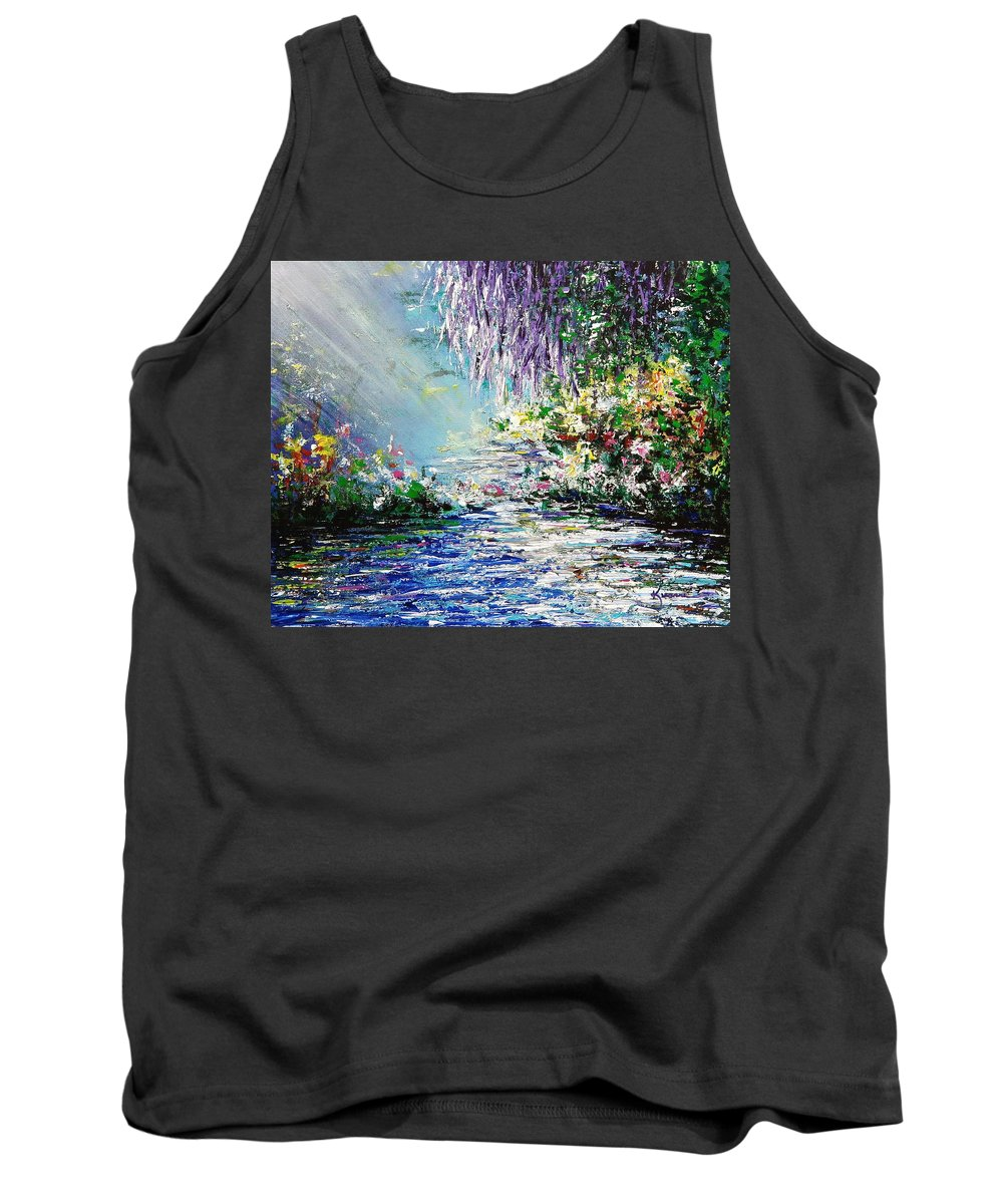 Purple Tank Top featuring the painting Purple Tree By The Lake by Kume Bryant