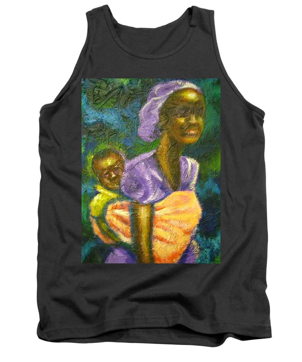 Mother And Child Tank Top featuring the painting Safe And Secure by Jan Gilmore
