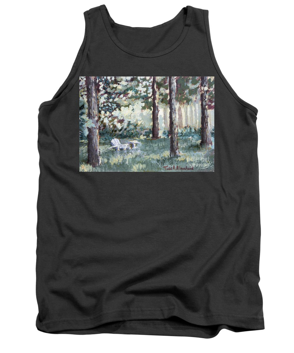 Landscape Tank Top featuring the painting Quiet Place by Todd Blanchard