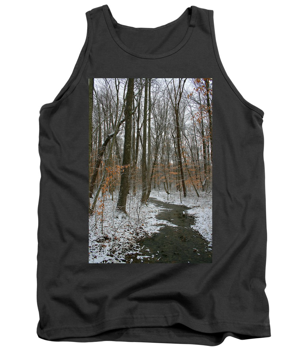 Forest Woods Water Winter Tree Snow Cold Season Nature Tank Top featuring the photograph Quite Path by Andrei Shliakhau