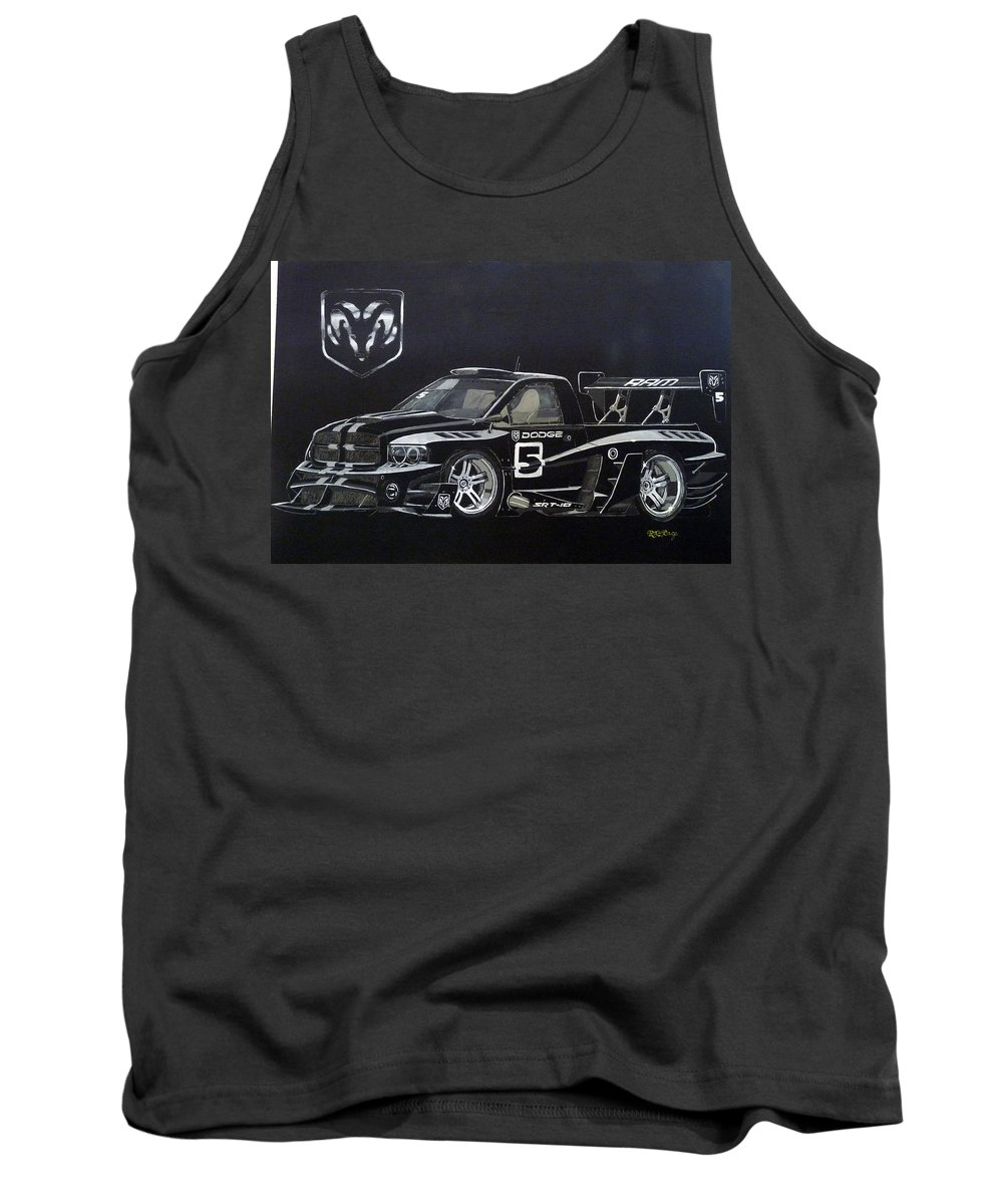 Truck Tank Top featuring the painting Racing Dodge Pickup by Richard Le Page