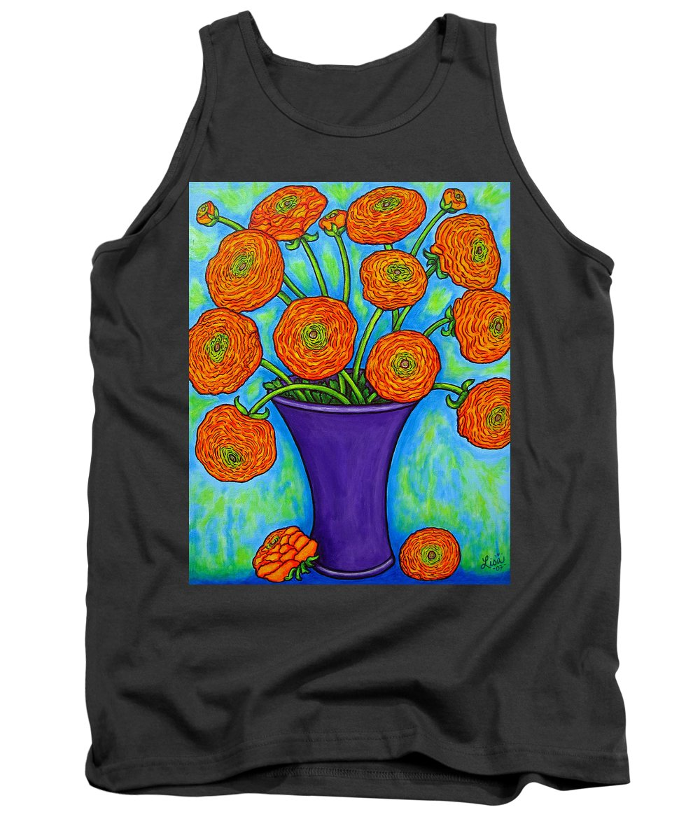 Green Tank Top featuring the painting Radiant Ranunculus by Lisa Lorenz