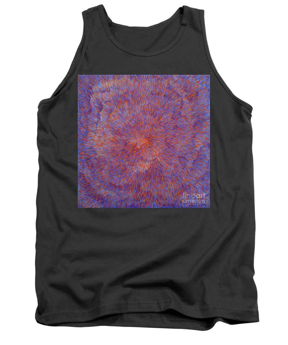 Abstract Tank Top featuring the painting Radiation with Blue and Red by Dean Triolo
