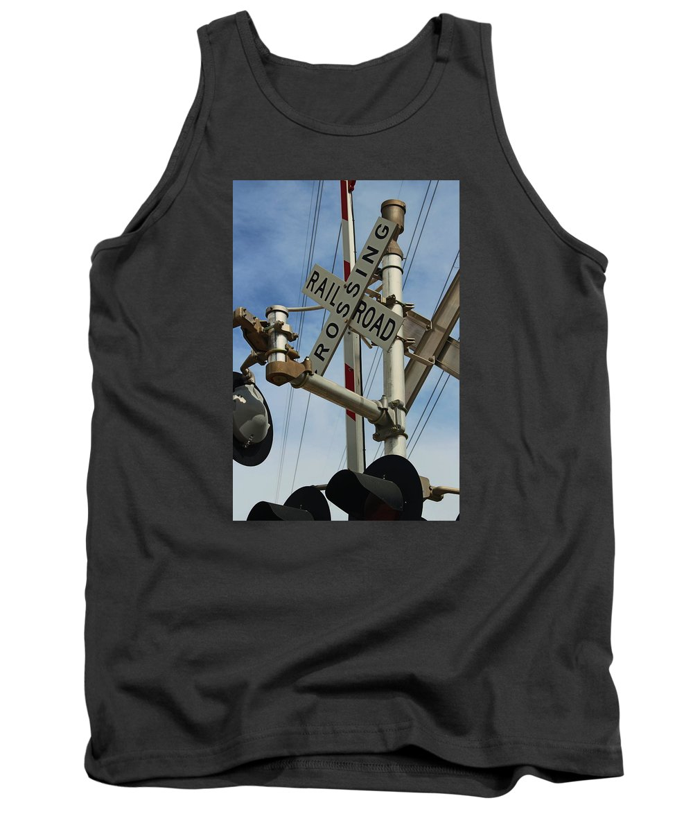 Railroad Crossing Tank Top featuring the photograph Railroad Crossing by Christine Townsend