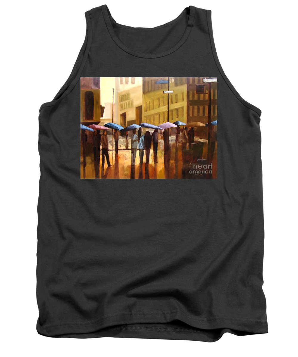 Cityscape Tank Top featuring the painting Rain in Manhattan number seventeen by Tate Hamilton