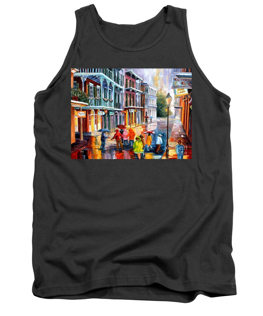 New Orleans Tank Top featuring the painting Rain On St. Peter Street by Diane Millsap