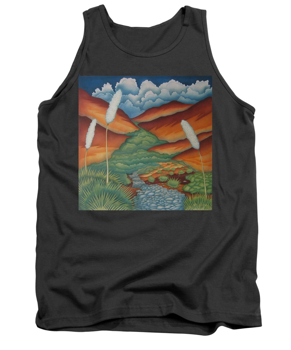 Landscape Tank Top featuring the painting Rain Trail by Jeniffer Stapher-Thomas