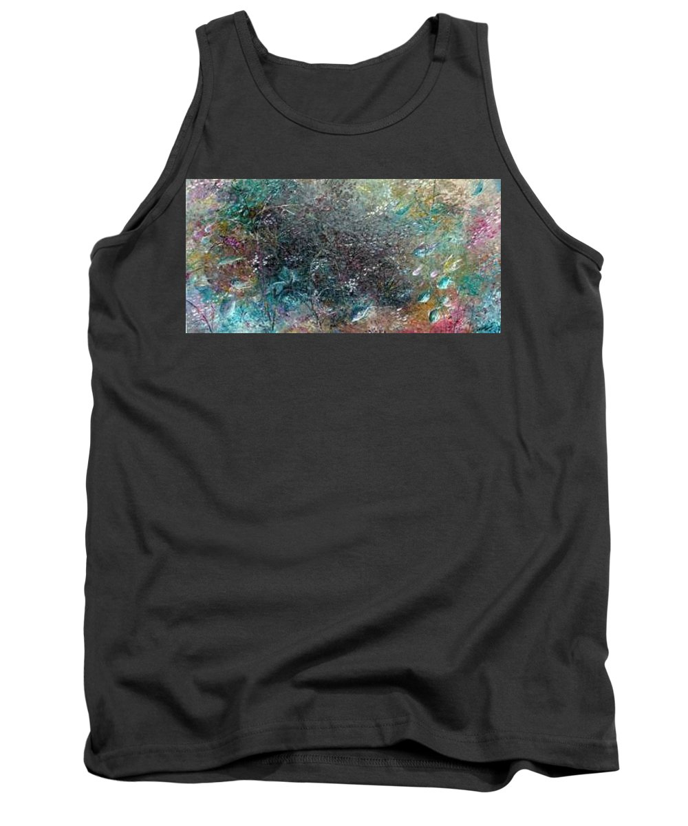 Original Abstract Painting Of Under The Sea Tank Top featuring the painting Rainbow Reef by Karin Dawn Kelshall- Best