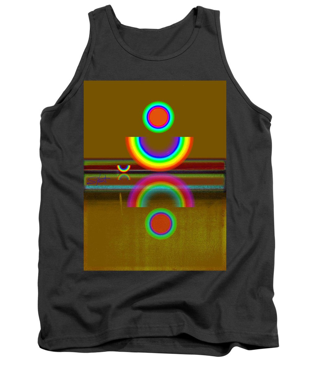 Reflections Tank Top featuring the painting Rainbow Warrior by Charles Stuart