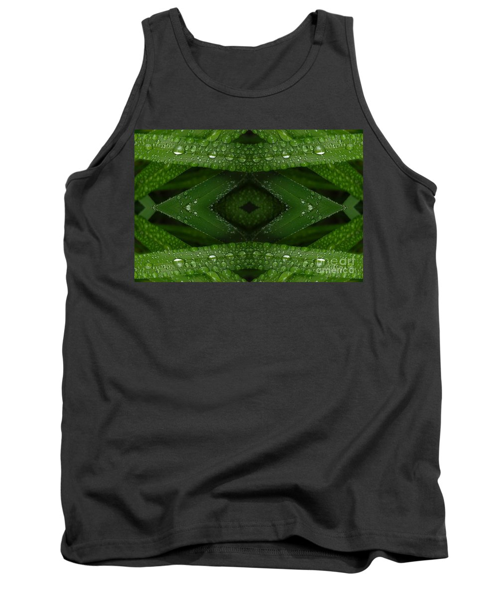 Nature Tank Top featuring the digital art Raindrops On Green Leaves Collage by Carol Groenen