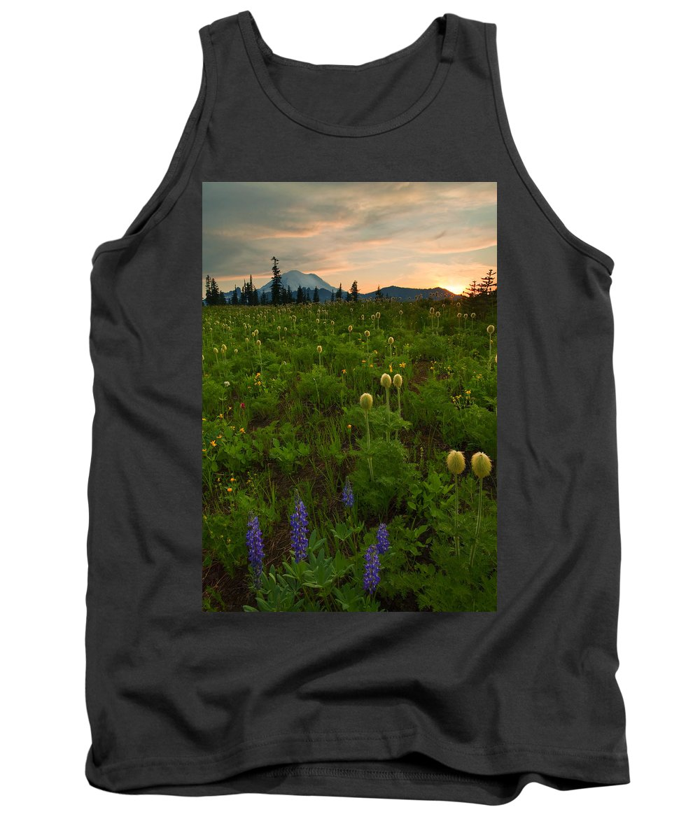 Meadow Tank Top featuring the photograph Rainier Wildflower Light by Mike Dawson