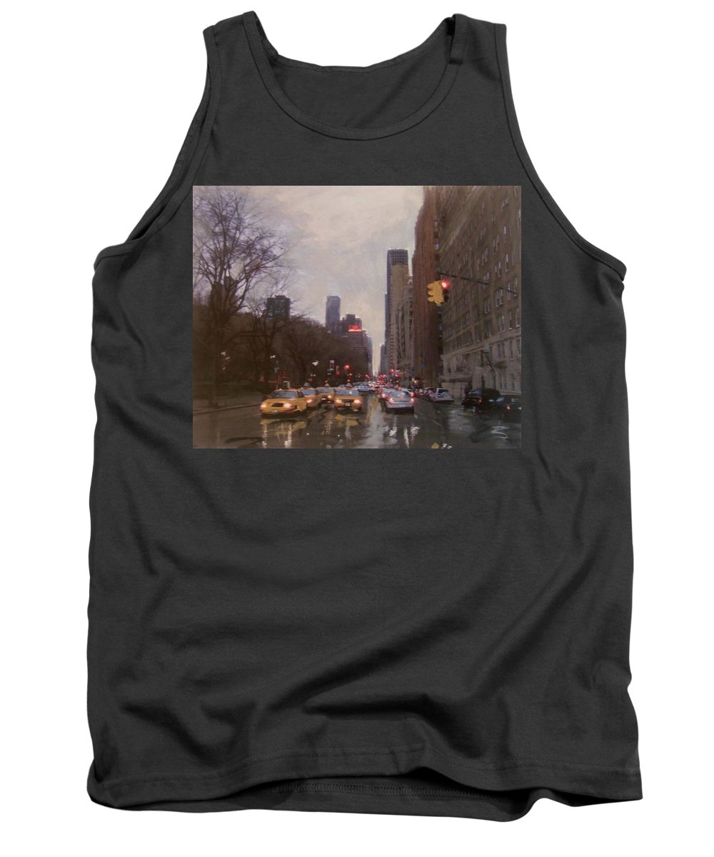 Rain Tank Top featuring the painting Rainy City Street by Anita Burgermeister