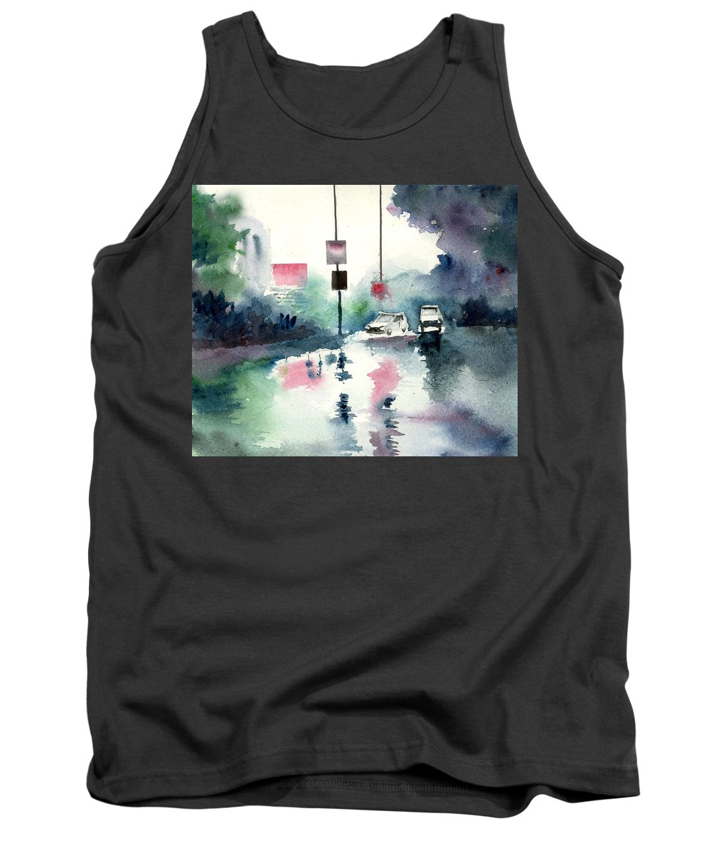 Nature Tank Top featuring the painting Rainy Day by Anil Nene