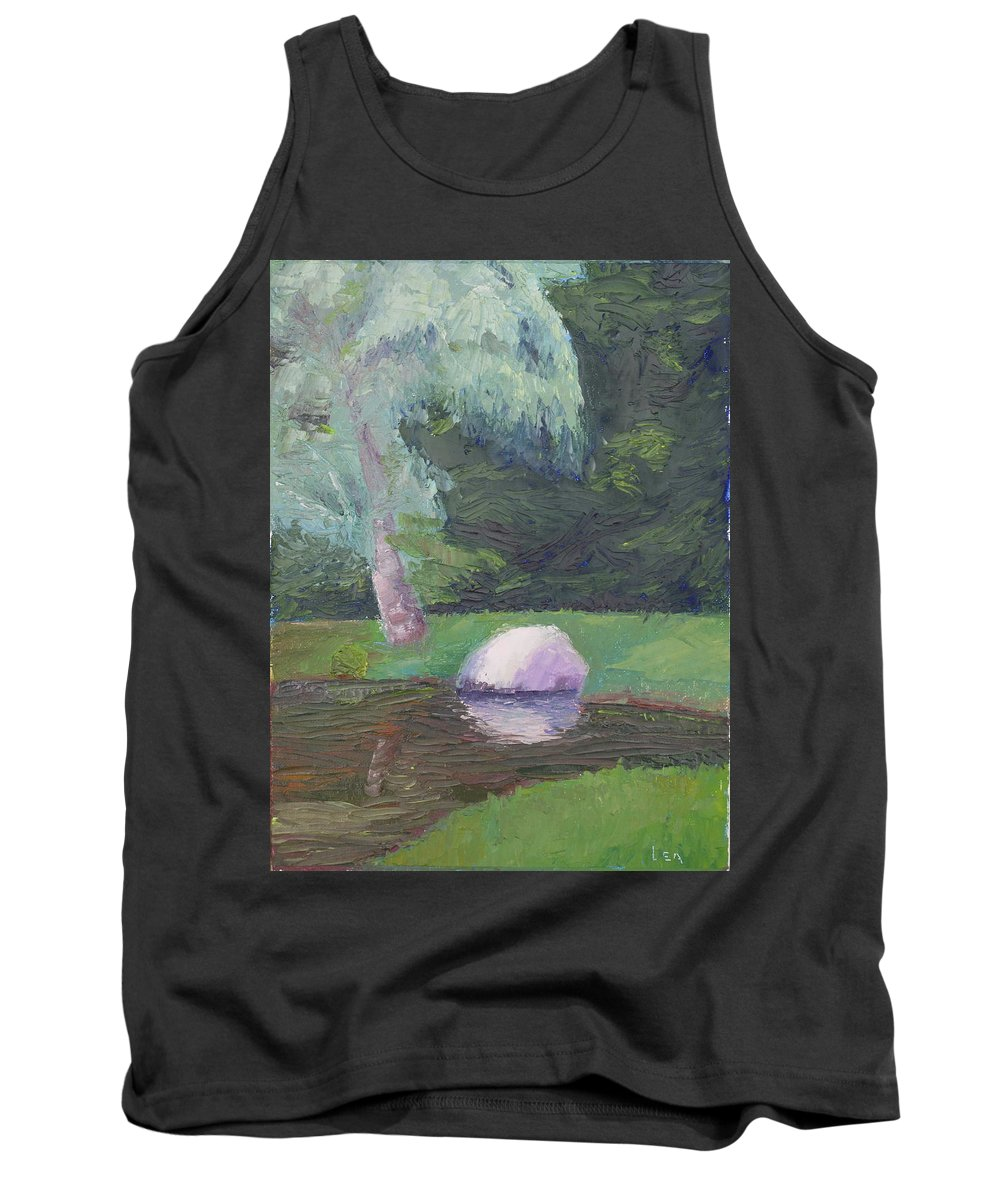 Landscape Painting Tank Top featuring the painting Rainy Day by Lea Novak