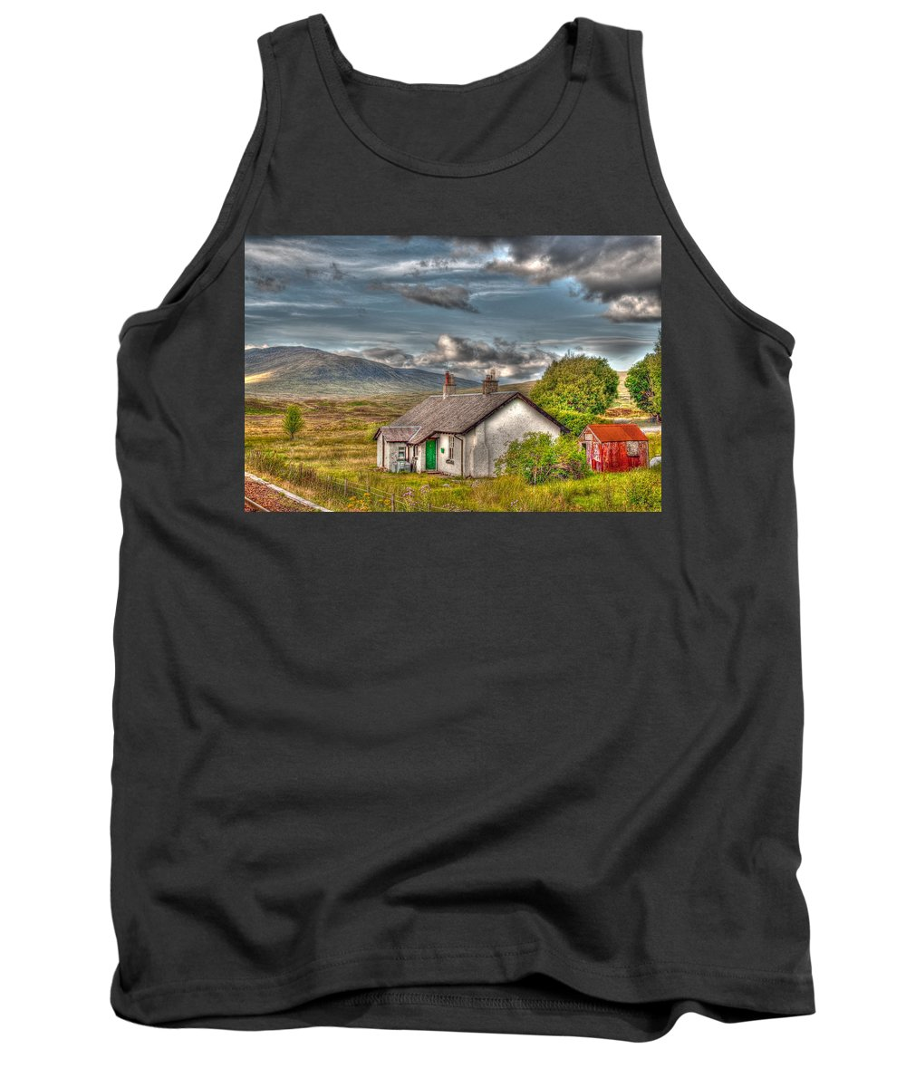 Rannoch Tank Top featuring the photograph Rannoch Railway Station View by Chris Thaxter