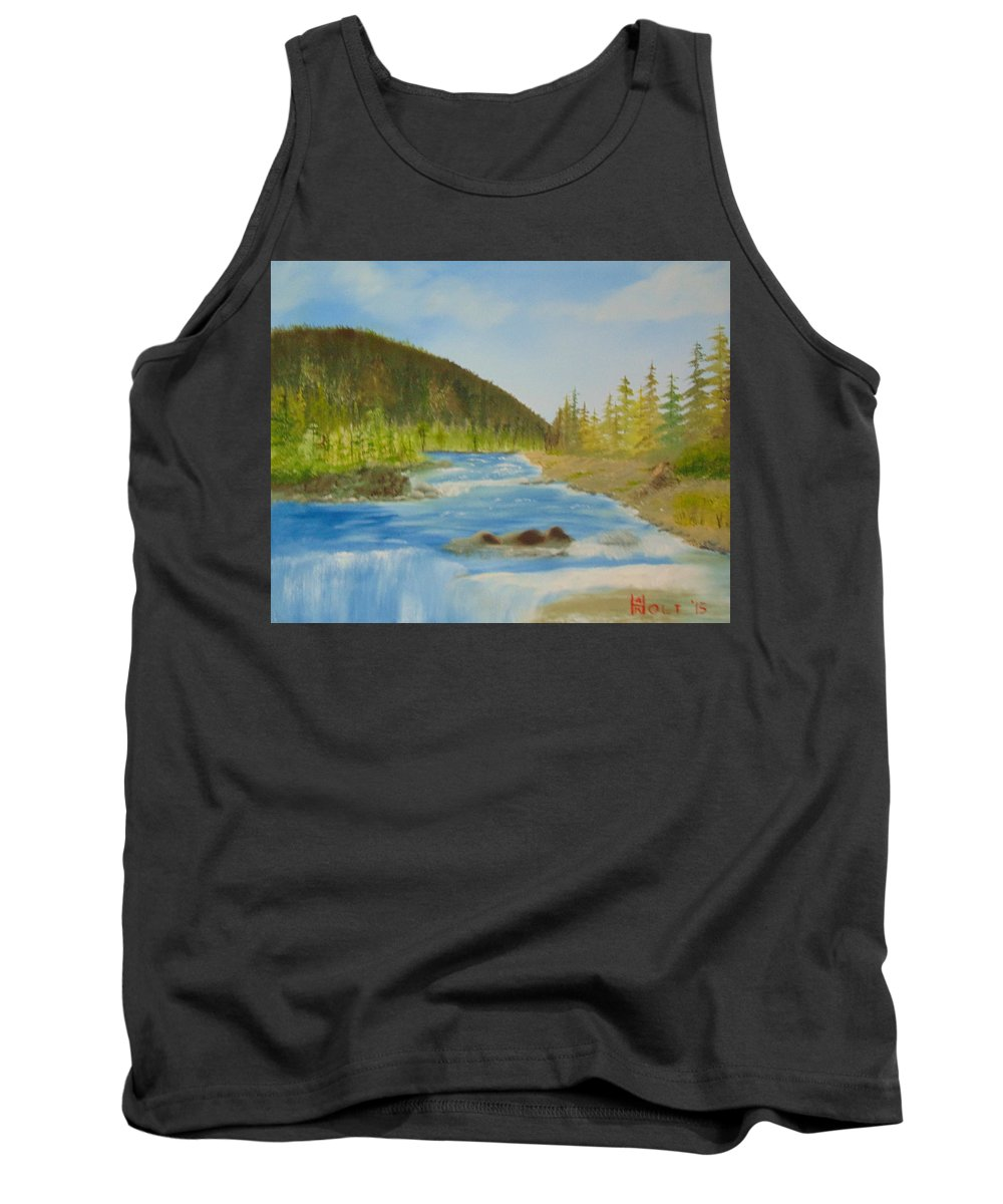 Bob Ross Style Tank Top featuring the painting Rapids by Alan K Holt
